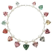 237 Carat Tourmaline 'Pink, Peach, Blue and Green', Pearl and Diamond Necklace