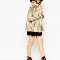 ASOS Coat in Faux Rabbit Fur with Contrast Collar at asos.com
