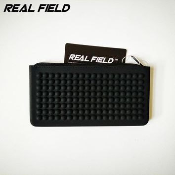 Real Field Summer Women Black Silicone Waterproof Cosmetic Bag Zipper Pen bags Makeup bag Brush Storage Passport Pouch 144