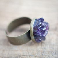 Rough Amethyst Ring Adjustable Cocktail Ring OOAK dark purple tribal rustic organic design rusteam