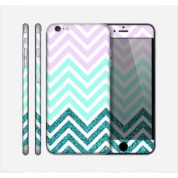 The Light Teal & Purple Sharp Glitter (Print) Chevron Skin for the Apple iPhone 6 Plus