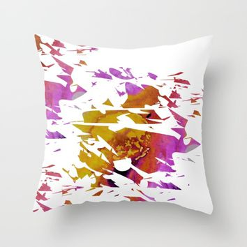 Abstract Acrylic Painting Broken Glass PURPLE AND YELLOW Throw Pillow by Saribelle Inspirational Art | Society6