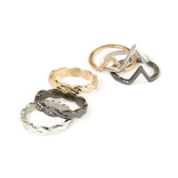 FOREVER 21 Geo Rhinestone Ring Set Gold/Silver