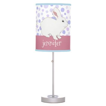 Girly Rose Pink Polka Dots Bunny Personalized Table Lamp