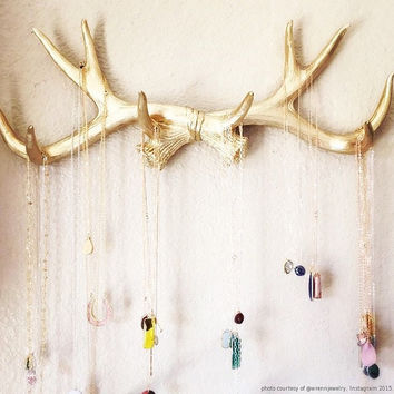 Faux Deer Antlers Rack in Gold Deer Antler by WhiteFauxTaxidermy