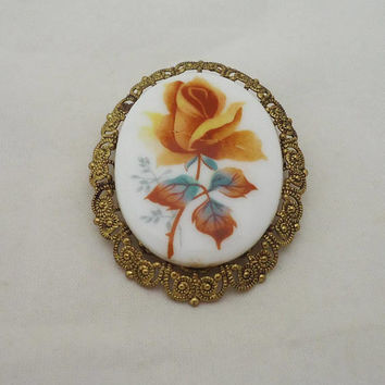 Vintage Porcelain Brooch, Porcelain Cameo Brooch, Pocelain Brooch made in West Germany, Floral Porcelain Brooch