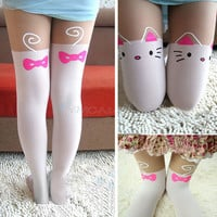 Sexy Cute Women Knee High Hosiery Pantyhose Silk Cat Tattoo Print Legging Tights