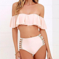 Ruffles Strapless Two Piece Swimsuit Bikini Sets