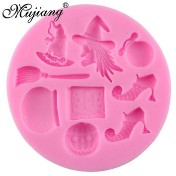 Halloween Witch Pumpkin Magic Silicone Molds Cupcake Fondant Cake Decorating Tools Gumpaste Chocolate Candy Moulds CC050