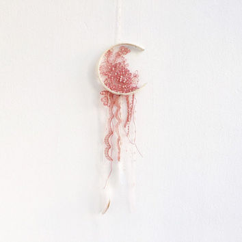 Baby room dreamcatcher Boho dreamcatcher Floral dreamcatcher Bohemian wall decor Bohemian dreamcatcher Nursery dreamcatcher Pink dreamcatcer
