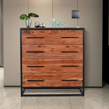Handmade Dresser with Live Edge Design 4 Drawers, Brown and Black By The Urban Port