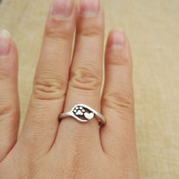 2pcs tiny Charm Jewelry Small  dog and cat paw print antique silver plated heart and Paw Print Ring adjustable rings