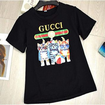 GUCCI Fashion Ladies Three Little Kittens Print T-Shirt Pullover Top Black