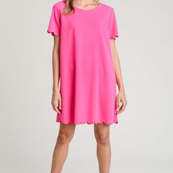 shift dress with scalloped edges