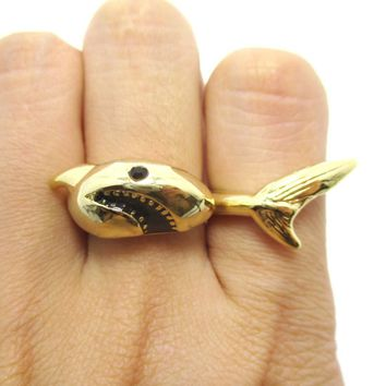 3D Shark Shaped Sea Animal Wrap Around Ring in Gold | DOTOLY