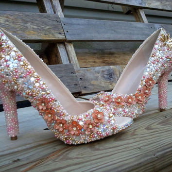 Pretty in Pink - Iridescent Rhinestones - Jeweled Wedding Shoes - Beaded Shoes - Bridal Shoes