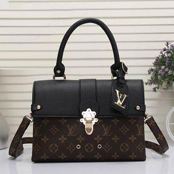 LV Louis Vuitton Popular Women Leather Square Backpack Bookbag Daypack Satchel Coffee LV Pattern+Black I
