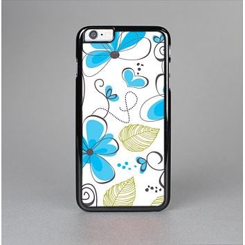 The Abstract Blue Floral Pattern V4 Skin-Sert for the Apple iPhone 6 Skin-Sert Case