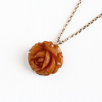 Vintage Carved Bakelite Rose Necklace - 1930s Art Deco Gold Filled Chain Butterscotch Brown Orange Flower Floral Statement Charm Jewelry