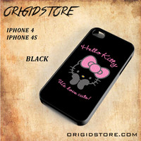 Hello Kitty Snap on 2D Black and White Or 3D Suitable With Image For Iphone 4/4S Case