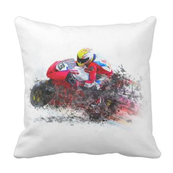 Sport Bike Throw Pillow