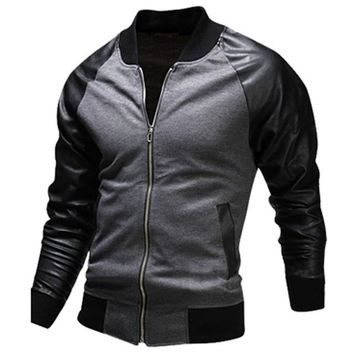 Cool College Baseball Jacket Men Fashion Design Black Pu Leather Sleeve Mens Slim Fit Varsity Jacket Brand Veste Homme