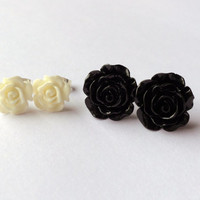 BLACK WHITE ROSE Earrings, resin rose stud earrings, 2 pairs shabby chic flower post earrings, bridesmaid earrings, bridal earrings