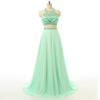 Two Piece Prom Dresses Chiffon Beaded Prom Dresses A Line Off The Shoulder Long Party Dress For Women