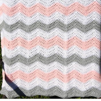 Pink and Grey Chevron Baby Blanket, Chevron Crochet Baby Blanket, Chevron Crib Bedding, Pink Afghan, Pink Grey Nursery,Pink Chevron Blanket