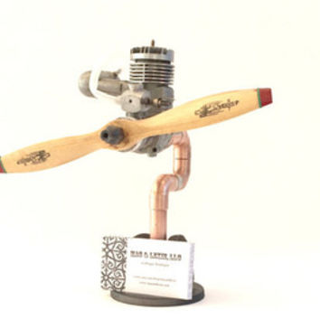 Industrial Business Card Holder, Copper Pipe Stand, Aviation Desk Decor, RC Airplane Engine & Parts, Unique Gift For Pilot, Office Desk
