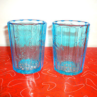 Vintage Depression Glass  Aqua Blue Tumbler