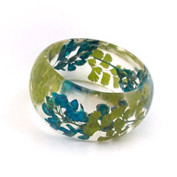 Botanical Fern Statement Bangle. Blue and Green Contemporary Jewelry.  Handmade Modern Chunky Bracelet.  Maidenhair Fern and Bluebonnets