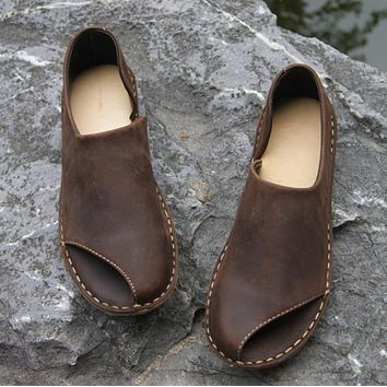 Pure handmade All cowhide leather shoes the retro art mori girl female fish mouth sandals loafers shoes,Coffee/Khaki