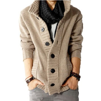 slim wool Casual men shawl collar cardigan sweater