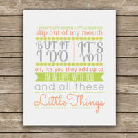 Little Things - One Direction Lyric - Graphic Print - Wall Art