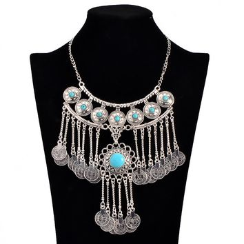 Oceans Coin Long Turquoise Blue on Silver Chain Necklace | Khadijah Collection