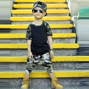 2 piece set summer 2017 kids baby Boys set camouflage casual t-shirt children clothes set Drop ship