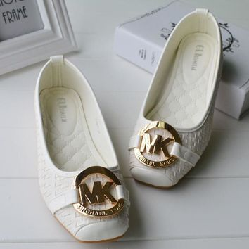 MICHAEL KORS MK New fashion more letter sandals slippers single shoes White