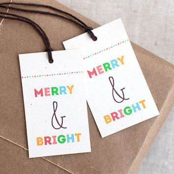 Merry & Bright Christmas Gift Tags Set - Colorful Eco-Friendly Recycled Holiday Tags