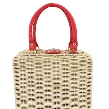50s Wicker Picnic Natural Beige Vintage square Bag - Kara Handbag