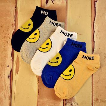 DCCKUNT 5 Pairs  Cute Smile Face Womens kNitted Warm Socks