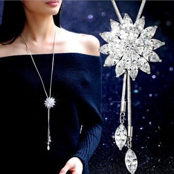 2018 New Sale Maxi Necklace Tower Fashion Jewelry Crystal from Swarovski beaded Flowers Woman Party