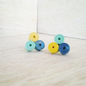 Minimal Stud Earrings Yellow Blue Mint Green Recycled Paper Jewelry Eco-Friendly  / Σκουλαρίκια από χαρτί