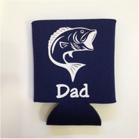 Personalized Gifts for Him -  Bass Fishing Koozie- Fisherman Hugger - Personalized Koozie for Men - Drink Insulator