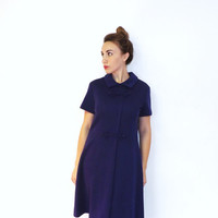 Vintage 50s 60s Plus Size 16 Short Mod Purple Peter Pan Collar Shift Dress Style Day Dress