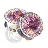 Pink Super Bling Threaded Steel Plugs