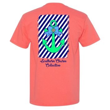 Anchor on Striped Background Southern Charm Collection on a Light Pink Short Sleeve T Shirt