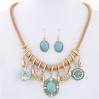 2015 Fashion New Vintage Costume Jewelry Red/Blue Bohemian Turquoise Women Jewelry Sets Necklace Earring Sets For Women Bijoux