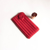 Red Bridal Wedding Clutch Or Bridesmaids Clutch, Pouch, Purse - Romantic Rose Pleats By Lolos | Luulla