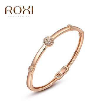 ROXI Simple Slide Beads hOT Austrian Rhinestones Gold Plated heart Charm Bracelets Chain Lobster Jewelry for Women